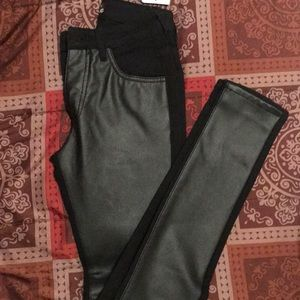 Black jeans with leather front